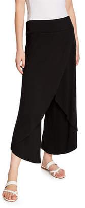 Eileen Fisher Plus Size Faux-Wrap Wide-Leg Jersey Crop Pants