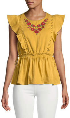 Moon River Embroidered Flutter-Sleeve Blouse