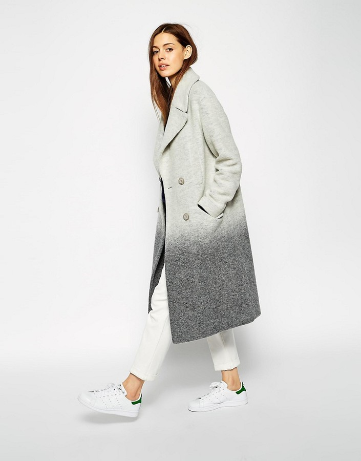 ASOS Oversized Coat in Ombre Boiled Wool - Grey