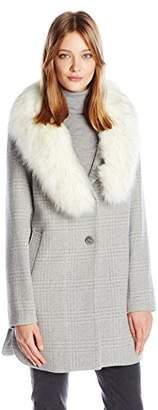T Tahari Women's Olivia Fitted Plaid Wool Coat