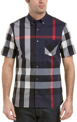 Burberry Thornaby Short-Sleeve Check Stretch Cotton Blend Shirt