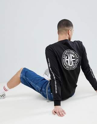 HUF Regional Long Sleeve T-Shirt With Regional Stamp Back Print In Black