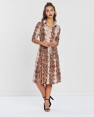 Missguided LS Button-Down Midi Shirt Dress