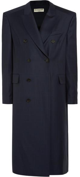 Balenciaga Balenciaga - Oversized Checked Wool Coat - Navy
