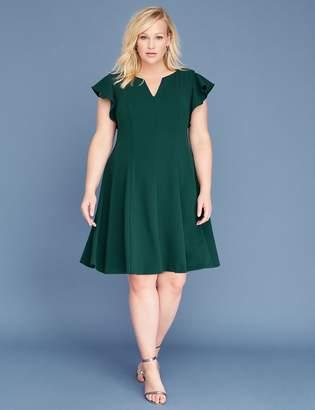 Lane Bryant Ruffle-Sleeve V-Neck Fit & Flare Dress