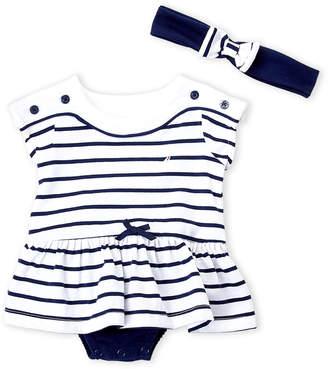 Nautica Newborn Girls) Two-Piece Stripe Skirted Bodysuit & Headband Set
