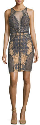 Jovani Sleeveless Embroidered Lattice Illusion Cocktail Dress