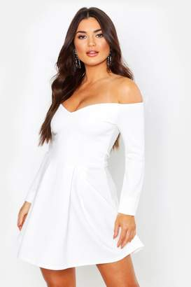 boohoo Sweetheart Long Sleeve Box Pleat Skater Dress