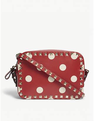 Valentino Ladies Red and White Polka Dot Vintage Rockstud Polka-Dot Leather Cross-Body Bag