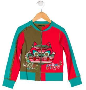 Oilily Girls' Embroidered Long Sleeve Jacket multicolor Girls' Embroidered Long Sleeve Jacket