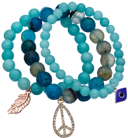 Blu Bijoux Set of Three Blue and Green Beaded Stretch Charm Bracelets