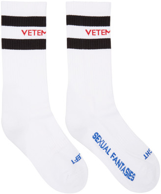 Vetements White 'Sexual Fantasies' Socks $90 thestylecure.com