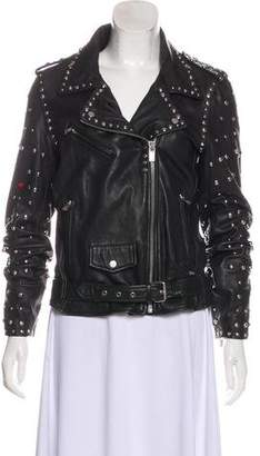 Scotch & Soda Embellished Leather Jacket