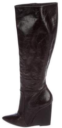 Alice + Olivia Patent Leather Wedge Boots
