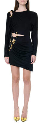 Versace Black Cut-out Dress With Brooch Deails