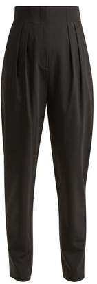 Tibi Yasmeen Pleated High Rise Trousers - Womens - Black