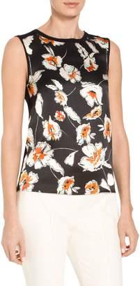 St. John Modern Floral Hammered Satin Silk Jersey Knit Shell