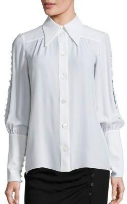 Michael Kors Collection Button Sleeve Silk Blouse