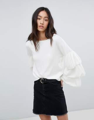 Only Ruffle Layered Sleeve Lightweight Sweater