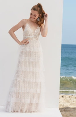 By Watters Tiered Lace & Swiss Dot Wedding Dress