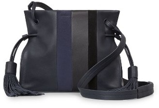 Allsaints Casey Calfskin Leather & Suede Tassel Crossbody Bag - Blue $278 thestylecure.com