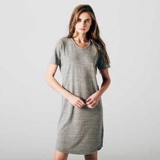 DSTLD Womens Scoop Neck Tee Dress in Heather Grey