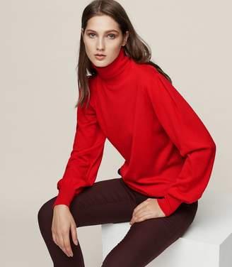 Reiss Caroline - Merino Wool Roll-neck Jumper in Red