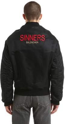 Balenciaga Sinners Embroidered Satin Bomber Jacket