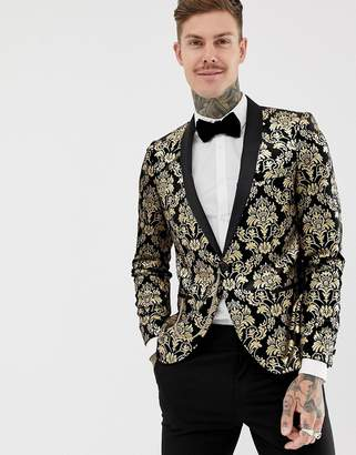 Twisted Tailor Super Skinny Velvet Blazer With Gold Print