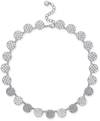 """Charter Club Silver-Tone Openwork & Pavé Disc Collar Necklace, 18"""" + 2"""" extender, Created for Macy's"""