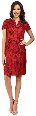 NUE by Shani Printed Jacquard Dress w/ Waistline Detail Women's Dress