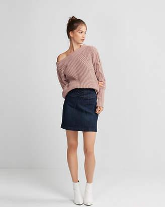 Express Corset Front Denim Mini Skirt
