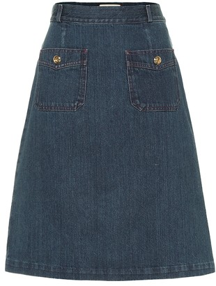 Gucci Cotton denim midi skirt