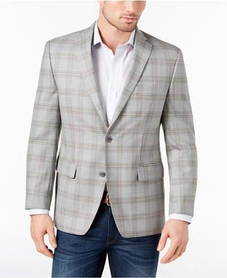 Michael Kors Men's Classic-Fit Gray/Tan Plaid Wool Sport Coat