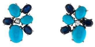 14K Diamond, Turquoise & Sapphire Stud Earrings