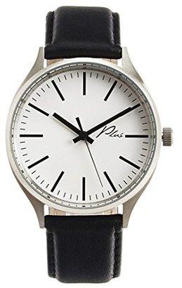 Plus WatchesクラシックレザーWatch inホワイトandブラックレザー