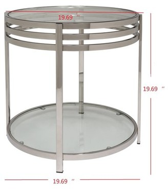 Safavieh Couture Malory 2-Tier Chrome End Table with Glass Top