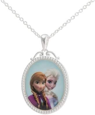 Disney Frozen Silver-Plated Anna & Elsa Pendant Necklace