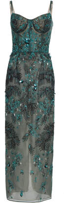 J. Mendel Embroidered Silk Bustier Top Midi Dress