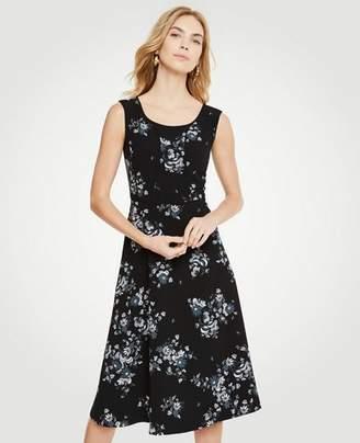Ann Taylor Petite Floral Piped Midi Dress