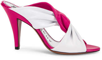 Givenchy Tie Heel Mules in White & Cyclamen   FWRD