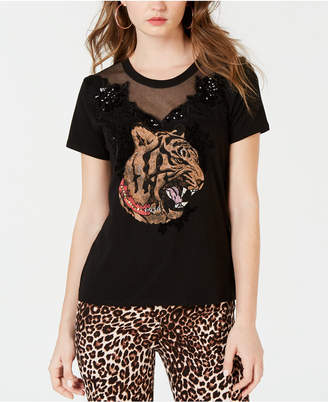 GUESS Embellished Mesh-Trim T-Shirt