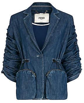 Fendi Women's Ruched Sleeve Denim Blazer