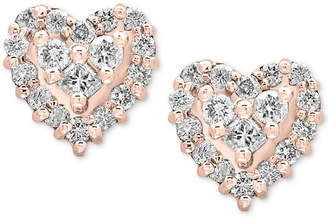 Effy Pave Rose by Diamond Heart Stud Earrings (1/2 ct. t.w.) in 14k Rose Gold