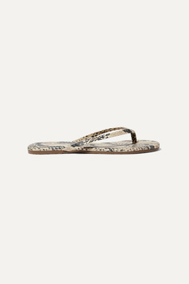 TKEES Lily Snake-effect Leather Flip Flops