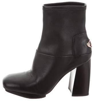 Tory Burch Leather Square-Toe Ankle Boots
