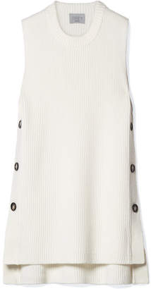 Jason Wu GREY - Button-embellished Ribbed Wool-blend Sweater - White