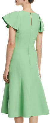 Oscar de la Renta Flutter-Sleeve A-Line Stretch-Wool Midi Dress