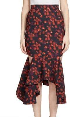 Givenchy Ruffled Cutout Midi Skirt