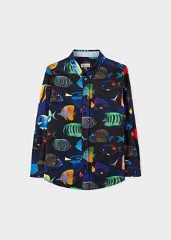 Boys' 2-6 Years Navy 'Tropical Fish' Print Cotton Shirt